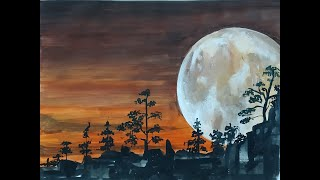 Full Moon Watercolor Landscape | How to Paint Bright Super Moon in Watercolors
