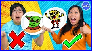 PANCAKE ART CHALLENGE! Baby Yoda Vs Spongebob! Learn how to do DIY Pancake Art!