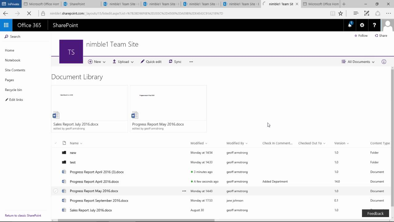 Version Control in Document Libraries for SharePoint 2016