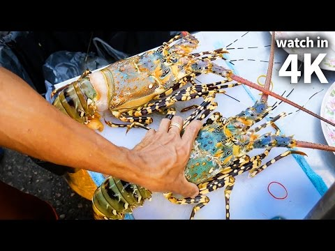 Eating Giant SPINY LOBSTER and Tiger Shrimp – Thailand Street Food with Trevor James [Watch in 4K]!