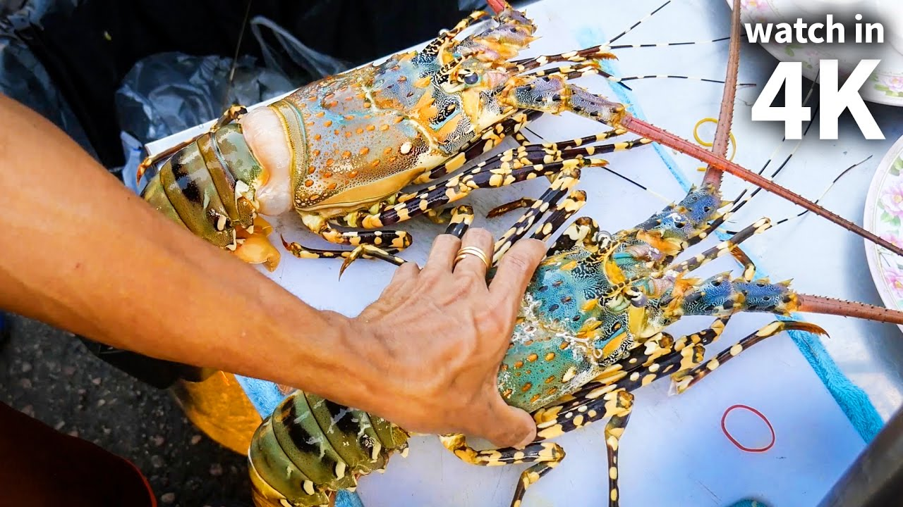 Eating Giant SPINY LOBSTER and Tiger Shrimp - Thailand Street Food with Trevor James [Watch in ...