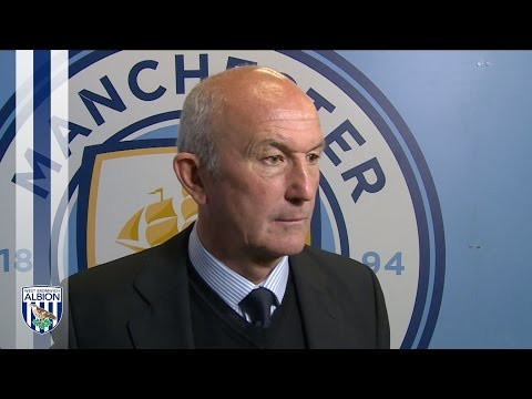 Tony Pulis reacts to Albion's 3-1 defeat at Man City
