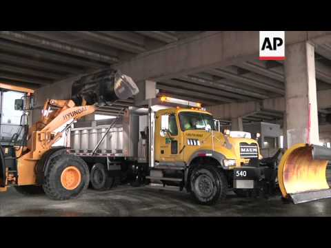 Pennsylvania Department of Transportation is loading trucks up with salt to treat roads as snow from