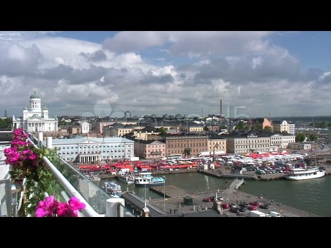 Helsinki Harbor And Market Square. Stock Footage