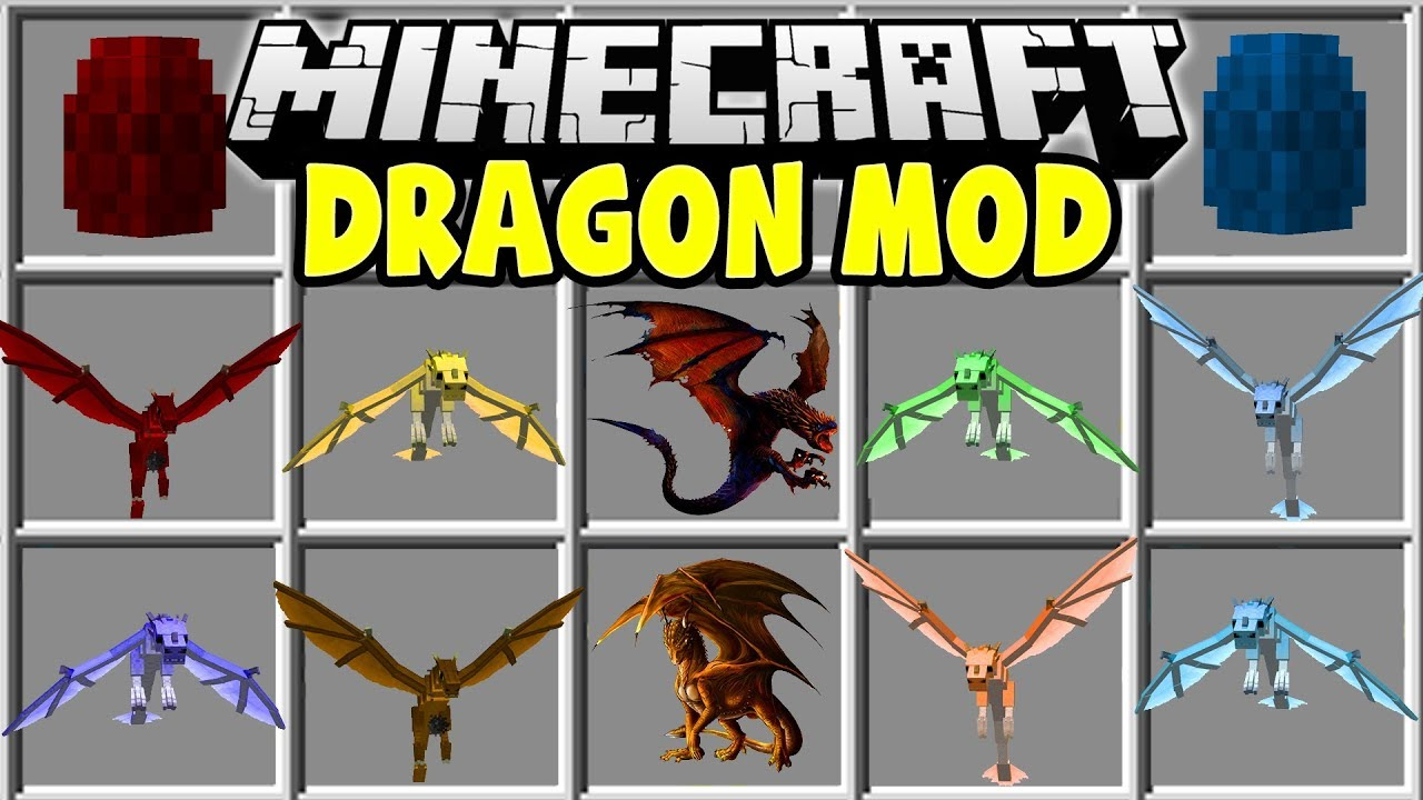Minecraft DRAGON MOD FIRE DRAGONS ICE DRAGONS MOUNTS MORE