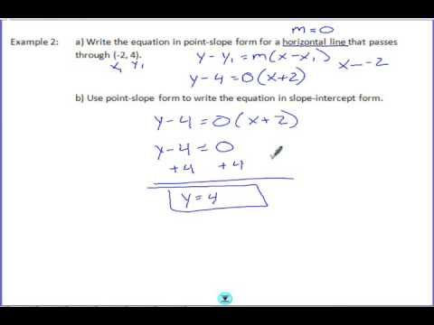 43 Writing Equations In Point Slope Form Youtube
