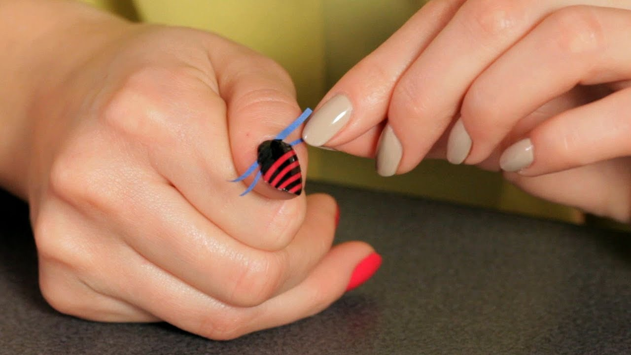 How To Do A Stripe Design With Tape Nail Art Designs