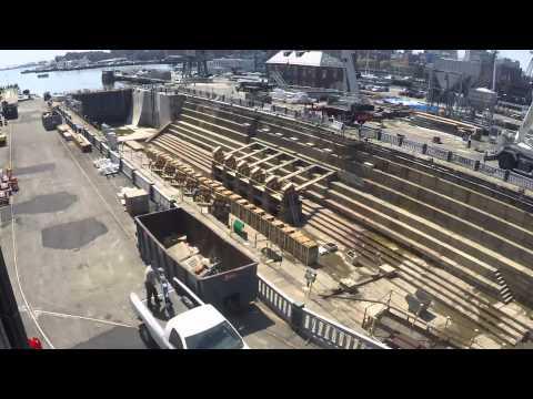 Installation of USS Constitution's Keel Blocks and Haul Blocks, Dry Dock 1, Charlestown Navy Yard