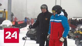 Лыжи и снегоходы: катаясь с Лукашенко, Путин помахал отдыхающим - Россия 24 