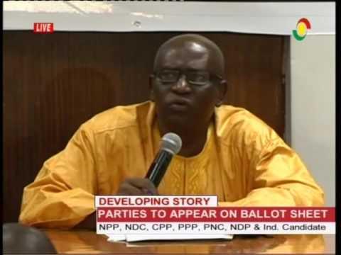 Breaking: Presidential aspirants position balloting - 9/11/2016