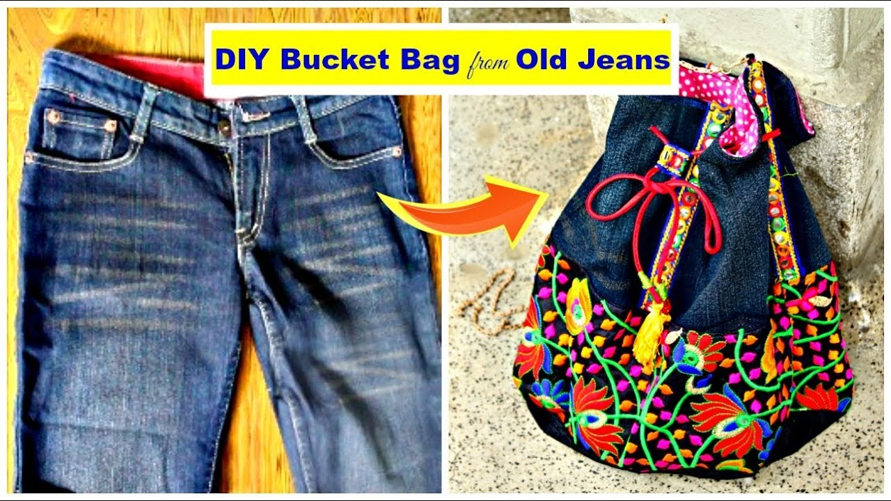 Diy Bucket Bag From Old Jeans Recycle Old Denims Pompoms