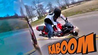 Мото ДТП. Кинулась под колеса. Собака :(