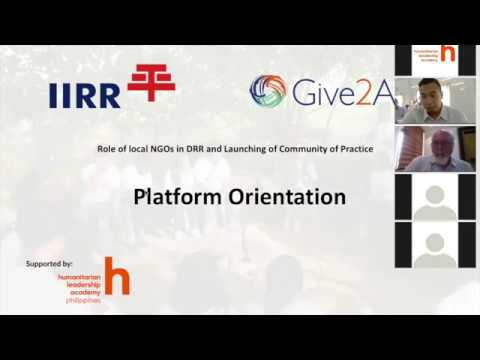 Webinar: Role of Local NGOs in DRR and CoP Launch