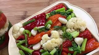 Маринованный красный перец с цветной капустой