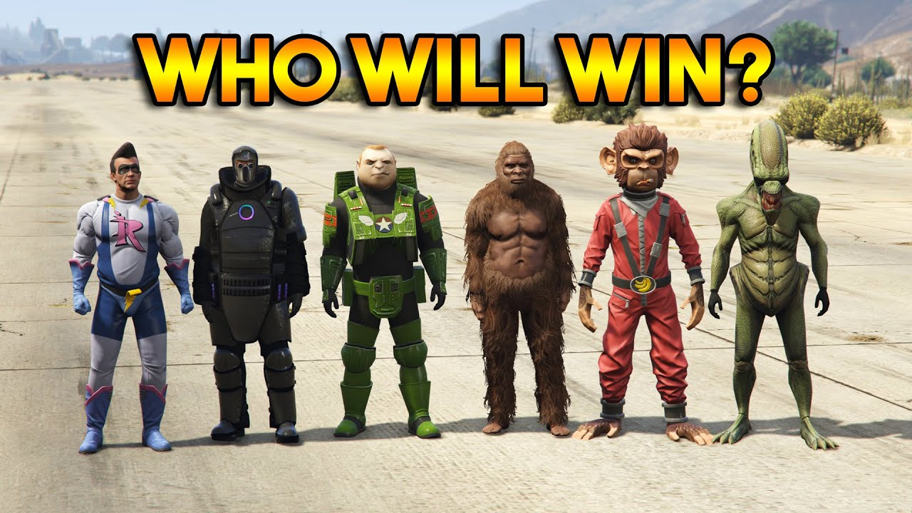 GTA 5 ONLINE : BIGFOOT vs IMPOTENT RAGE vs POGO vs MONKEY vs ALIEN vs JUGGERNAUT (WHO WILL WIN?)