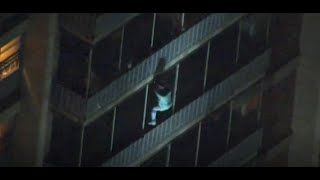 Death-defying escape: Man climbs down 19-storey building to flee fire