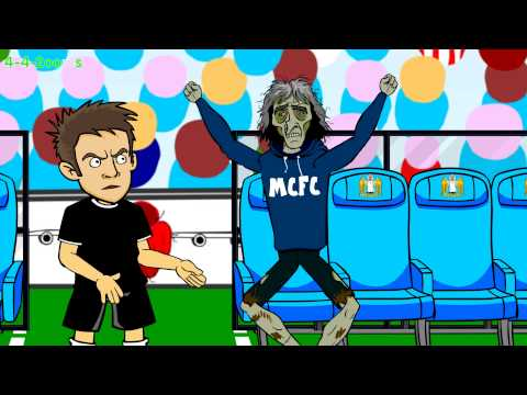 Smalling Red Card MAN CITY vs MAN UTD 1-0 (2014 Manchester Derby football funny cartoon highlights)