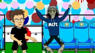 Smalling Red Card MAN CITY vs MAN UTD 1-0 (2014 Manchester Derby football funny cartoon highlights)