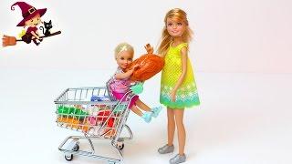 Las Hermanas de Barbie Van al Supermercado Juguetes de Cocina