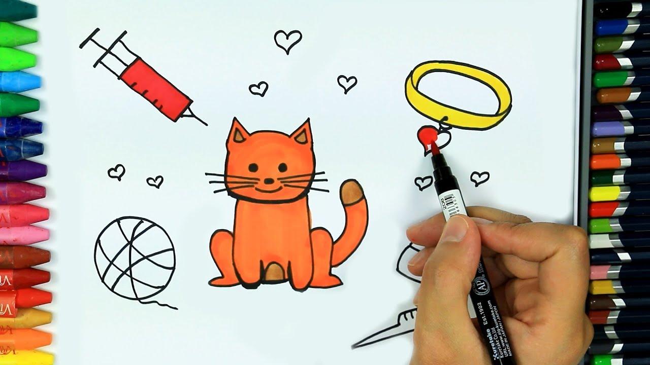 Kedi Nasıl çizilir Hd Boyama Kitabı çocuklar Için Renkler