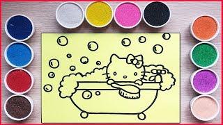 Đồ chơi TÔ MÀU TRANH CÁT HELLO KITTY TẮM BỒN - Colored sand painting Hello Kitty toys (Chim Xinh)