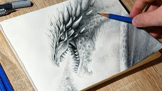Sketching Dragon Breathing Fire 🔥 - Time Lapse Fantasy Art