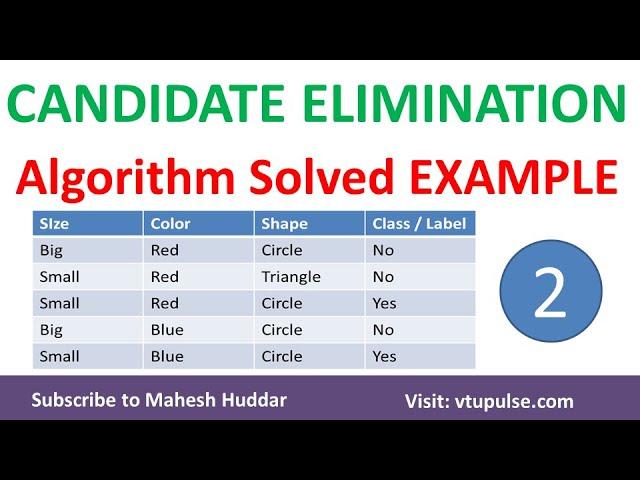 2. Candidate Elimination Algorithm | Solved Example - 2 | Machine Learning by Mahesh Huddar