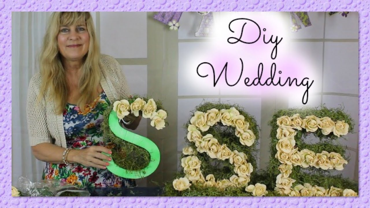 Diy wedding centerpieces bride groom initials monogram with diy wedding centerpieces bride groom initials monogram with styrofoam silk flowers styroscript youtube solutioingenieria