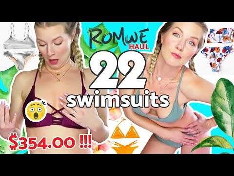 ROMWE BIKINI Try On HAUL   CANADA 2018 Spring Break Massive Unboxing 22 Swimsuits
