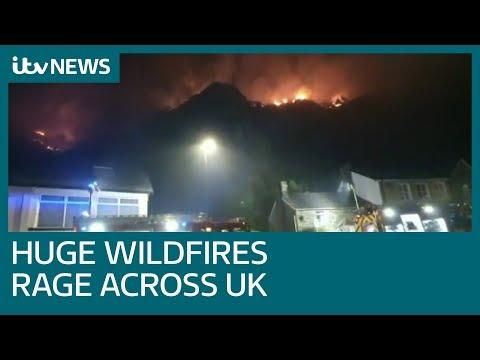 Wildfires ravage UK following hot weekend weather | ITV News