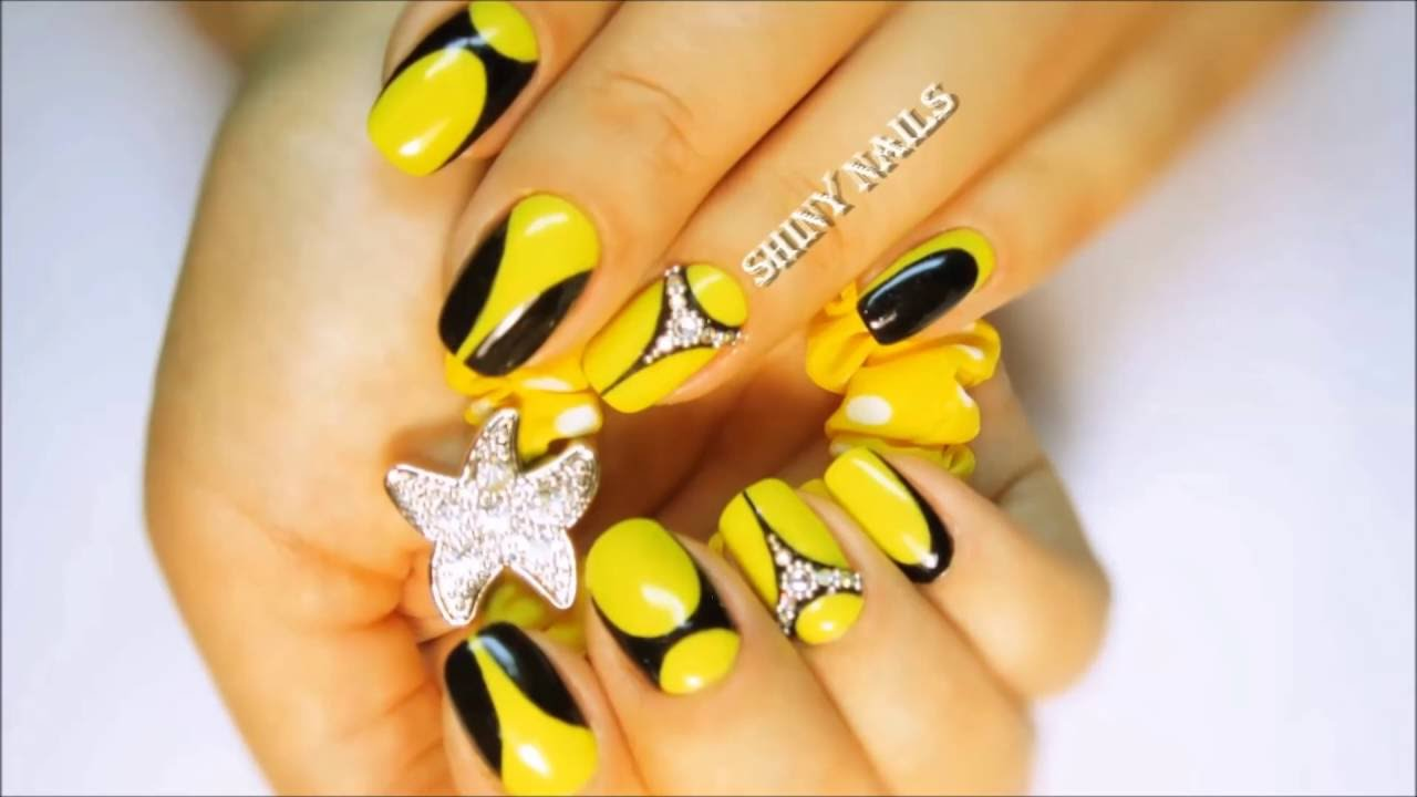 How to do black and yellow nail designs. #Kill Bill nails. - How To Do Black And Yellow Nail Designs. #Kill Bill Nails. - YouTube