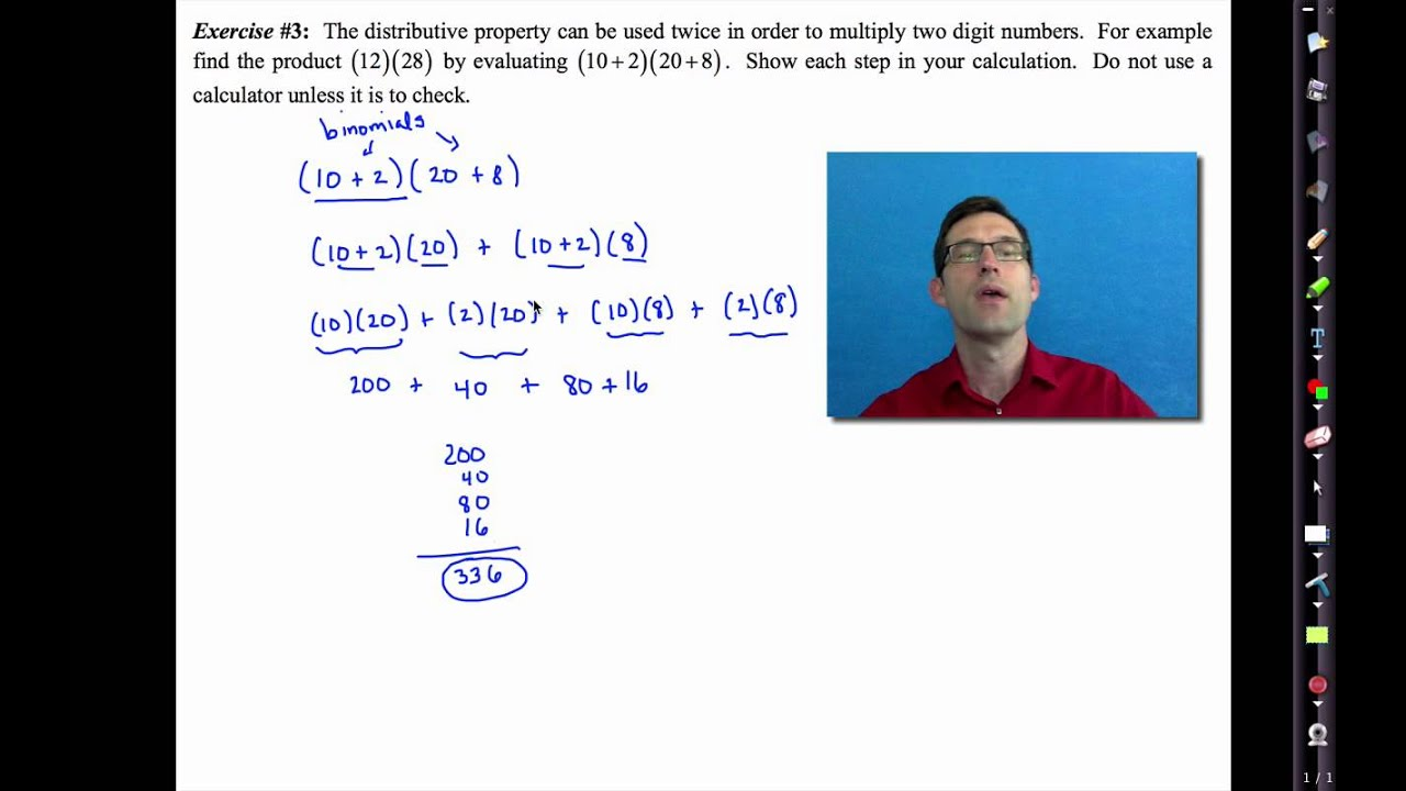 Common Core Algebra I Unit 1 Lesson 4e Distributive Property