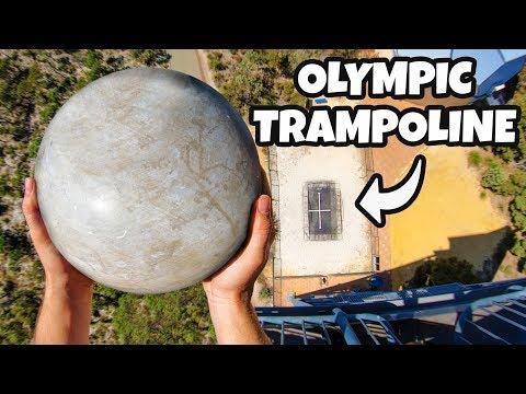 ATLAS STONE Vs. OLYMPIC TRAMPOLINE from 45m!