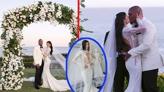 Nicole Williams is a stunning bride in plunging white gown as she weds Larry English in Laguna Beach