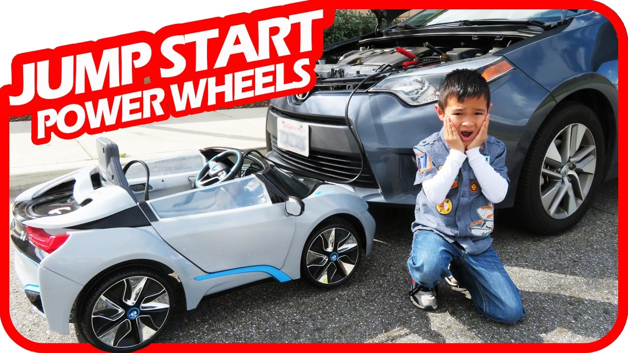kids jump start mom's car with power wheels, bmw i8 ride on toys