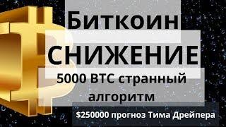 Биткоин. СНИЖЕНИЕ. 5000 BTC странный алгоритм. $250000 прогноз Тима Дрейпера. Курс биткоина