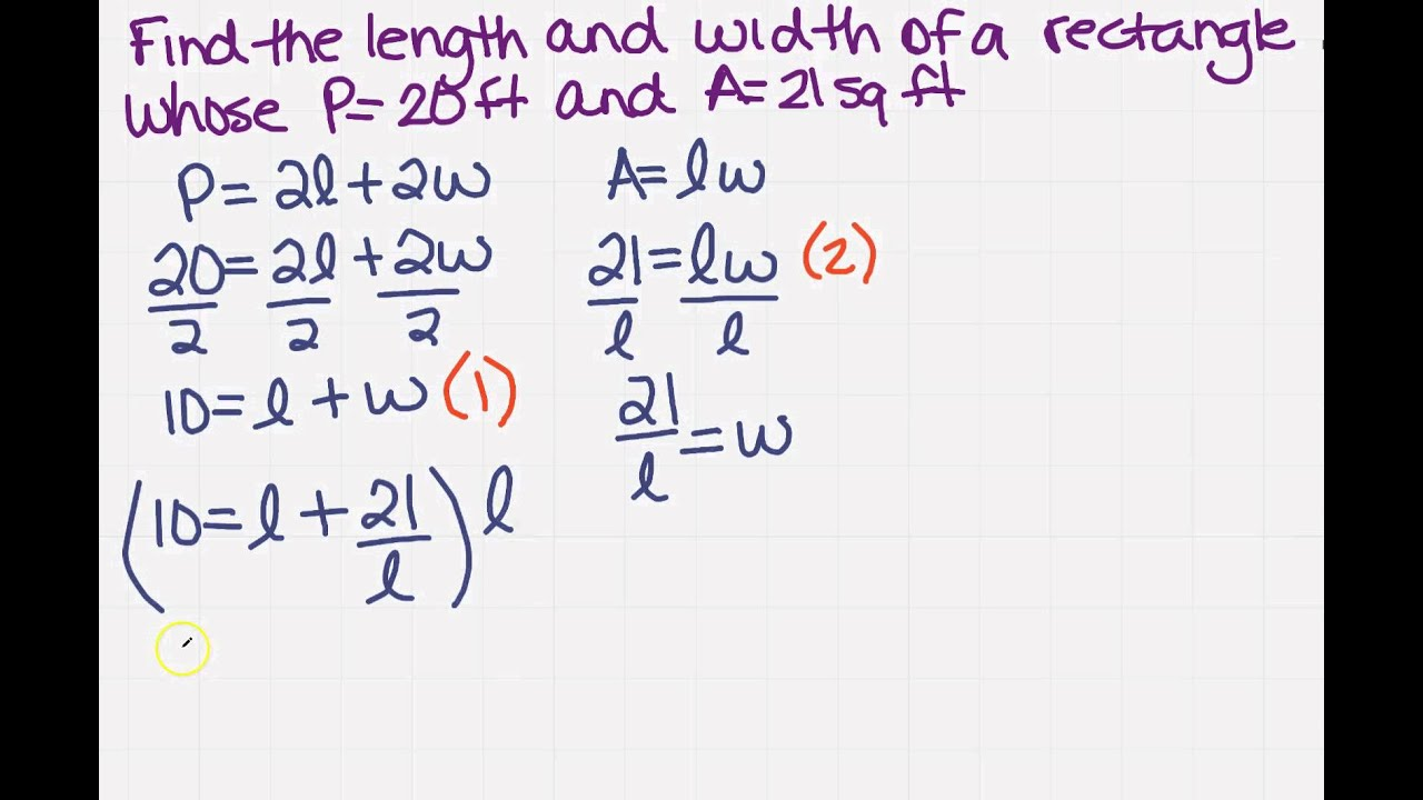 Find the length and width of a rectangle with a system of find the length and width of a rectangle with a system of equations ccuart Choice Image