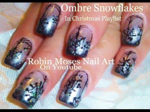 easy christmas nails black snowflake