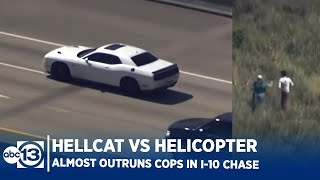 Stolen Dodge Hellcat Outruns Chopper in Houston Police Chase! Driver Almost Makes it