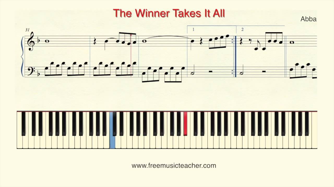 partition piano the winner takes it all