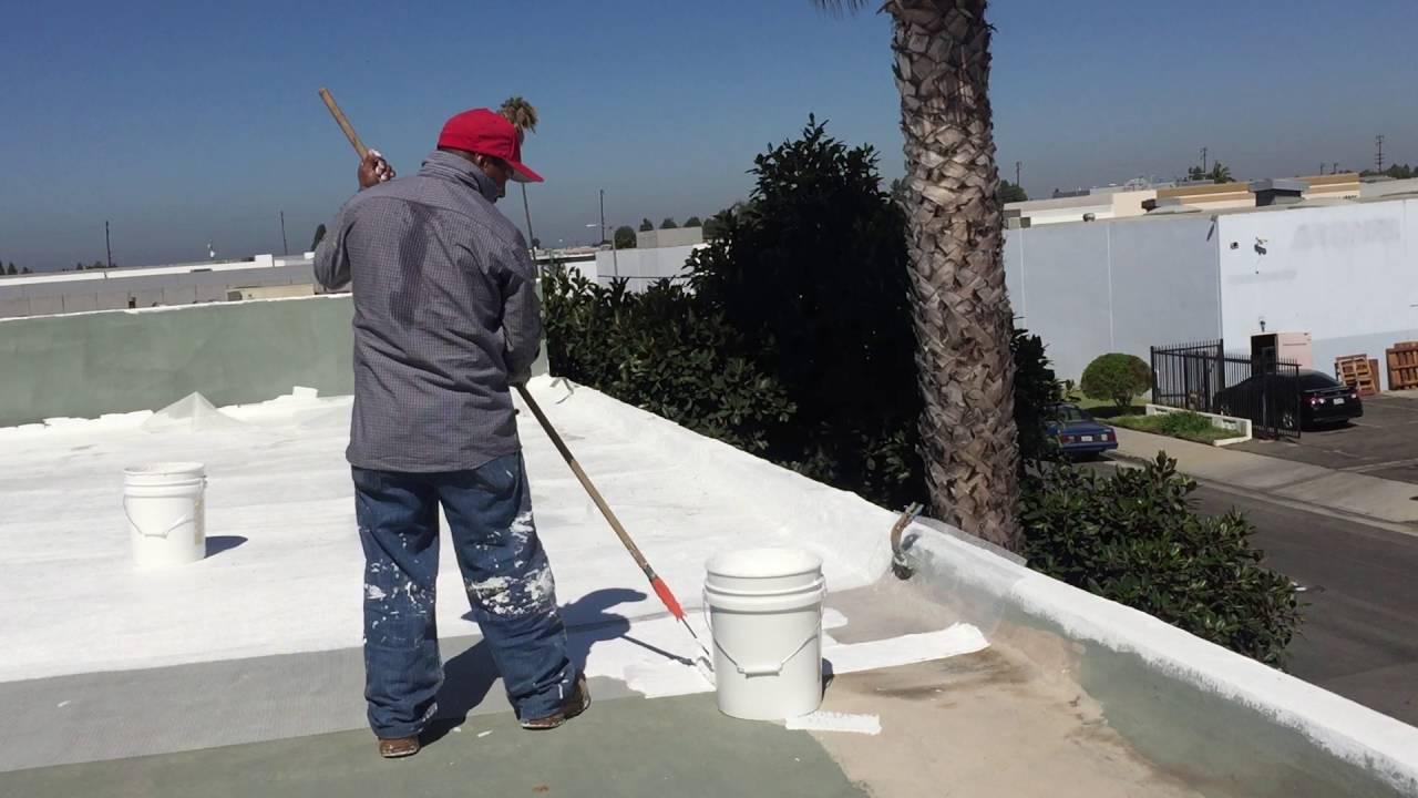 Use Of Roller To Apply Deck Flex Elastomeric Roof Coating