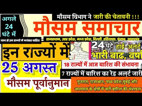 आज 25 अगस्त 2020 का मौसम, Mosam Ki Jankari August Ka Mausam Vibhag Aaj Weather News, Pm Modi Govt