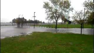 "Hurricane ""Sandy"" at Bayonne High School football field."