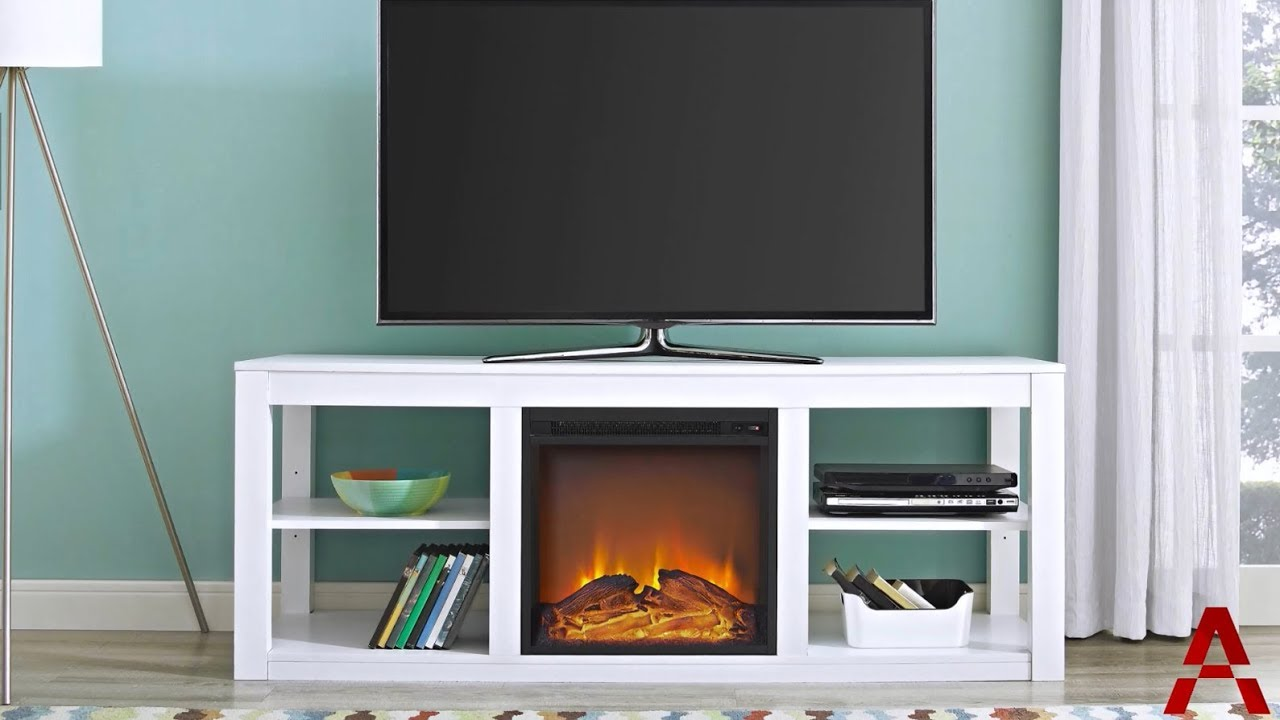 parsons electric fireplace tv stand youtube