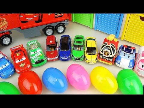 Thumbnail: Cars Truck and Surprise eggs with Robocar Poli carbot car toys