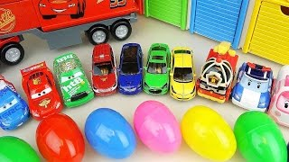 Cars Truck and Surprise eggs with Robocar Poli carbot car toys thumbnail