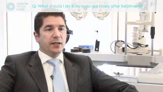 What should I do if my eyes are blurry after treatment?