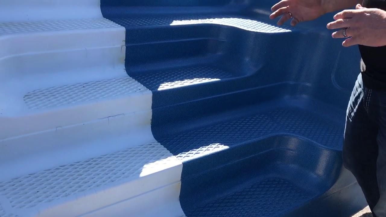 Refinishing options for fiberglass pool steps - YouTube