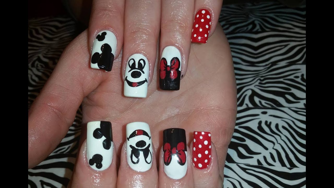 Acrylic Nails l Mickey Mouse Inspired l Nail Design - Acrylic Nails L Mickey Mouse Inspired L Nail Design - YouTube