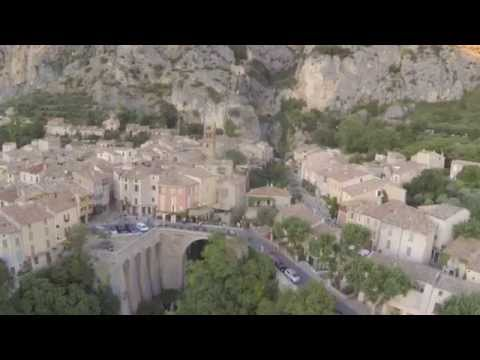 Moustiers Sainte Marie France, aerial video